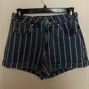 Pacsun striped mom jean shorts